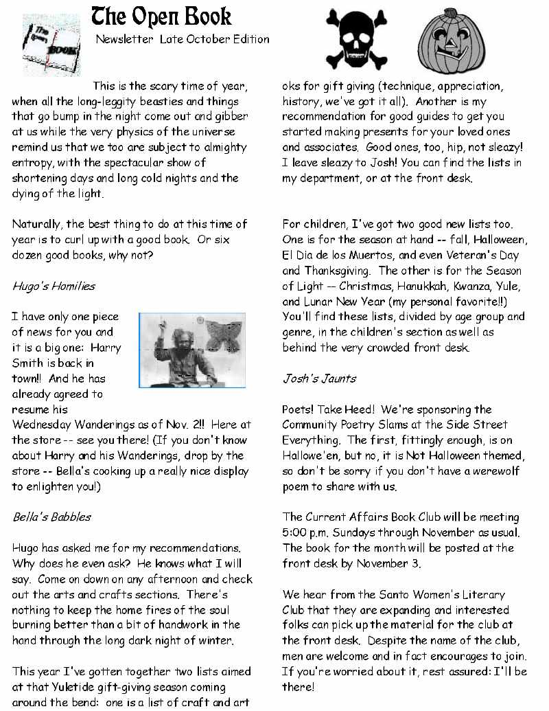 Open Book Newsletter-late october